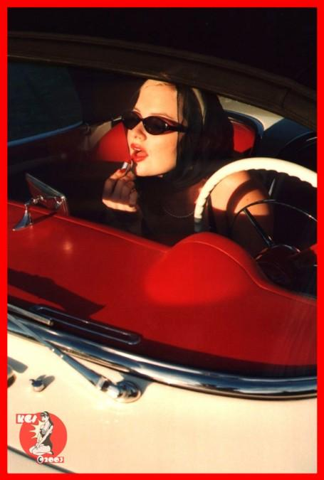 Oakland, California Apr 16, 2005 Tom Eitnier/KoolGirlieStuff Copyright 2002/2003 all rights reserved Corvette Cutie...Fixin her LipstickModel: Lana Landis San Francisco, California (Lana Landis in a car that MADE history An all ORIGINAL concours show winning 1953 Corvette #284 *one of the FIRST Corvettes ever made*shot in Oakland, California in 2002)