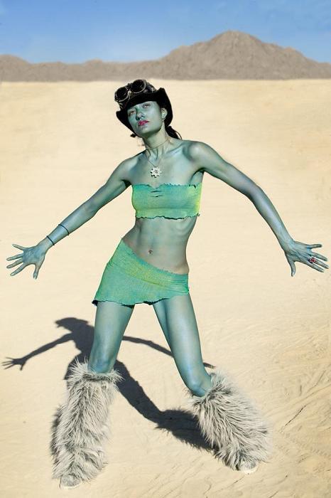 Female model photo shoot of Annissë in BURNING MAN 2004