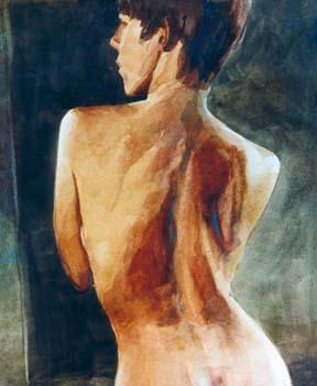 chicago Jun 25, 2005 bill bartelt Kneeling figure, Watercolor Painting