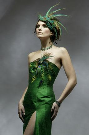 Vancouver Aug 26, 2005 House of Nyla Dupioni Silk Corset Gown with a vintage broach, feathers, embroidery and beadwork.