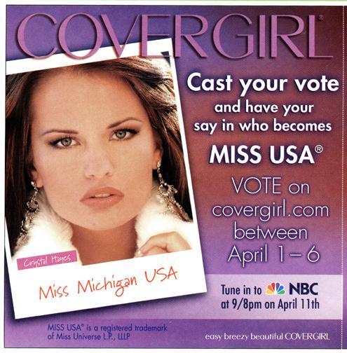 Studio Aug 30, 2005 Cover Girl Cosmetics/Sam Tang Crystal Hayes - Miss Michigan USA 05 Cover Girl Ad