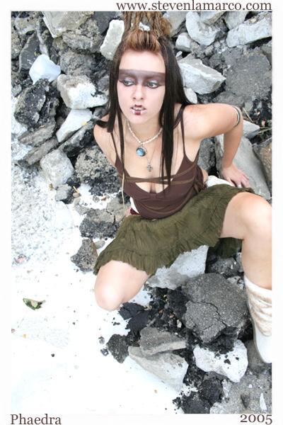 Female model photo shoot of Phaedra in secret covert location ;)