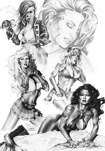 Oct 13, 2005 Monte Moore Maidens 1998 Calendar print for Monte Moore.  Print includes models Kristal Towers, Krisha Glenn, and Playmates Stacy Sanchez and Rebecca Ferratti.  Art created with models permissions.