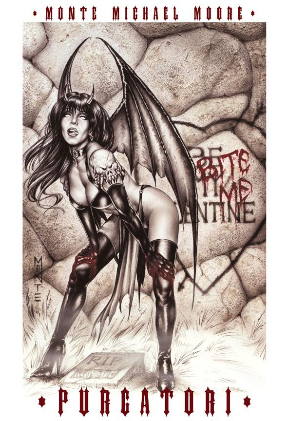 Oct 14, 2005 Monte Moore Bite Me!  Comic book cover for Chaos! Comics Purgatori character.  Valentines Day special Edition.