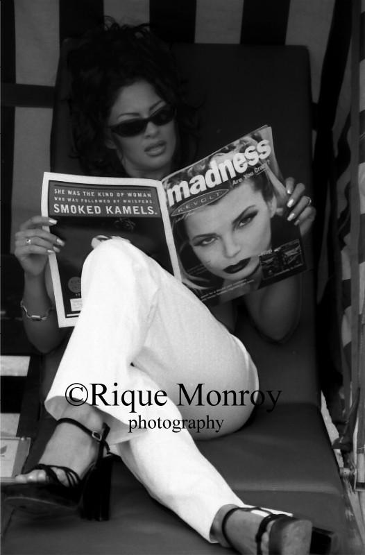 Oct 14, 2005 yes Playmate/Actress Rebecca Ferratti reading my cover shot of Revolt In Style