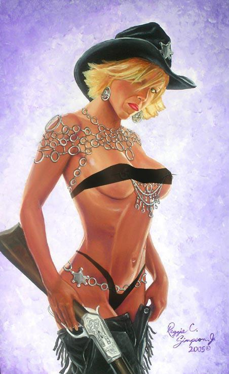 Oct 19, 2005 Reggie C. Simpson ,Jr A New Sheriff In Town (Edited Version) The model is Nicole Ray .This painting was inspired from a photo by Images by Kim MM # 61201