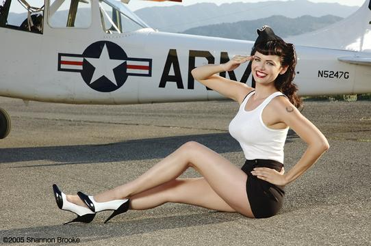Santa Ynez, CA Jan 17, 2006 2005 Shannon Brooke Imagery / Heidi Van Horne Air Bettie Pinup shot with real 1951 US Army AirPlane