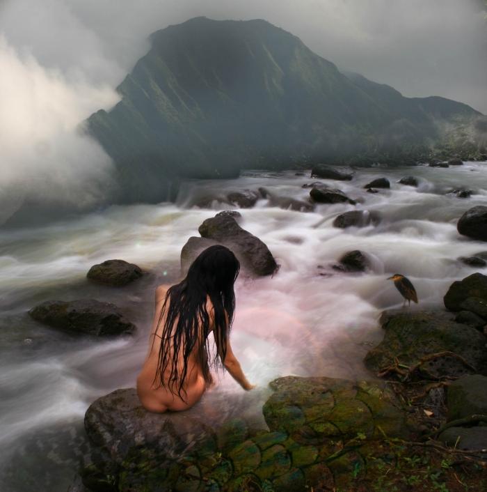 Male model photo shoot of redinhawaii in waimea river