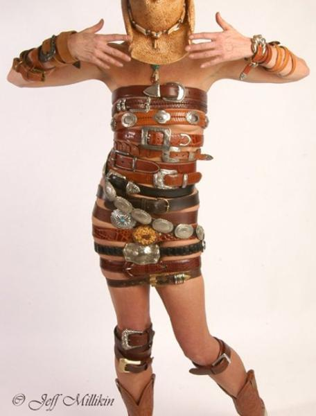Saturn Style Studios Jul 31, 2006 Jeff Milken Style and Design, Marie Saturn, all of my belts, saving for years for this shot. You should see the back...lol.