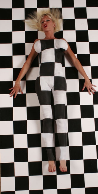 My studio in Largo Florida Aug 04, 2006 www.waynecollinsphotography.com Body Painted to Match the Floor  Model OMP 245758 Painting took  11 hours