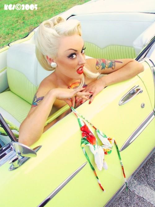 Pulled Off To The Side Of The Road Of Broken Dreams....somewhere in Texas Aug 10, 2006 Tom Eitnier/KoolGirlieStuff Copyright 2005 all rights reserved Texas Teese (Topless Driver) Model: Amity aka Thrillkitten San Angelo, Texas Texas PinUp Blonde Bombshell Amity caught speeding in this beautiful 1955 Chevy convertible making a last minute decision to avoid a ticket