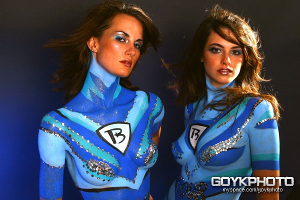 Chicago Aug 25, 2006 GOYKPHOTO Kat and Hilary Body Painted by Mario INK and myself for a Glam Live event