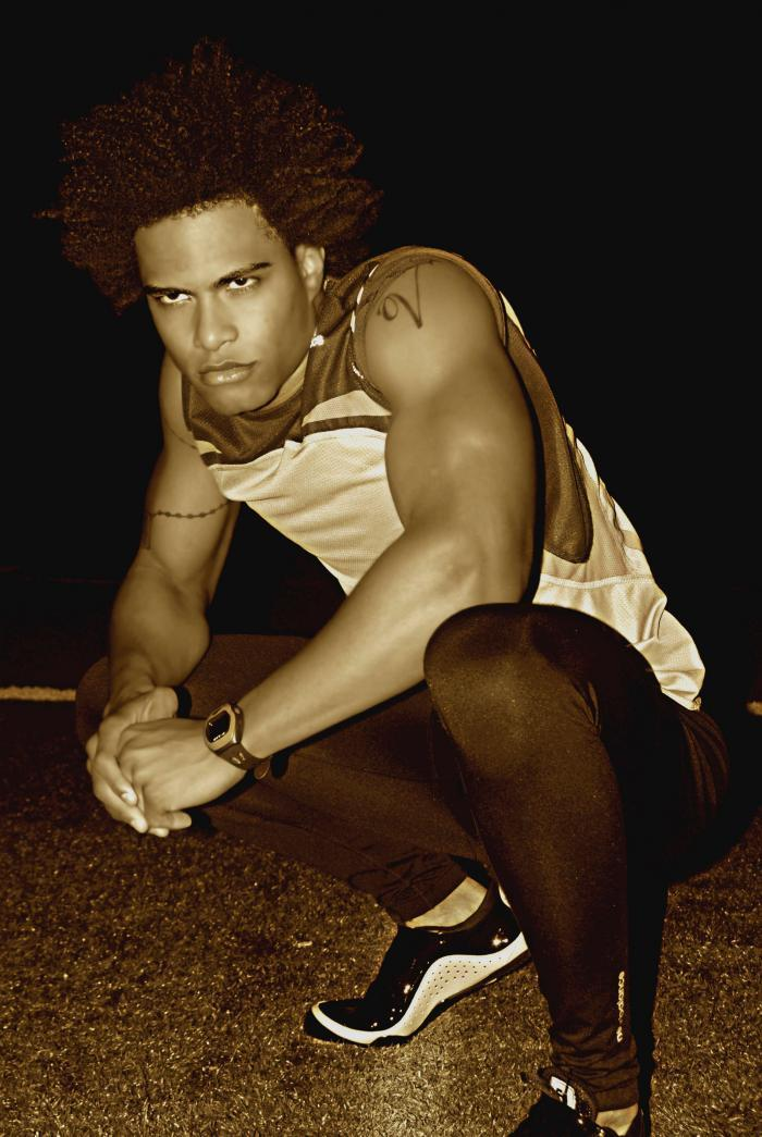 Male model photo shoot of Tyon Prinze by Michelle Wilson in st.johns university track and field - nyc (jamaica queens, word up)
