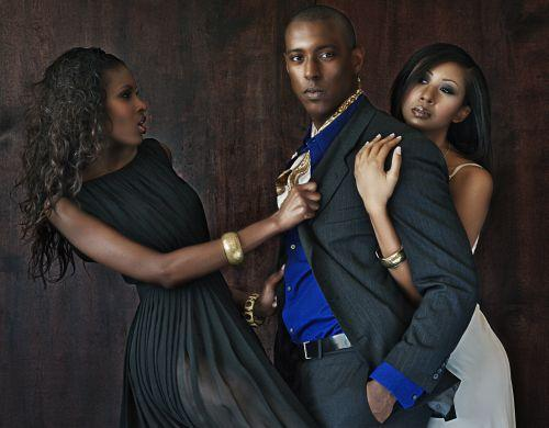Male and Female model photo shoot of Jerrin Holt, cejae and Selase by Grainpusher, wardrobe styled by Rodellee, makeup by Shelley Stull-Coffee