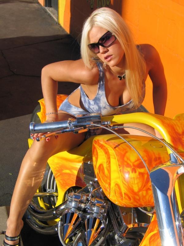 Female model photo shoot of Alison Rich in Ortiz Custom Choppers!