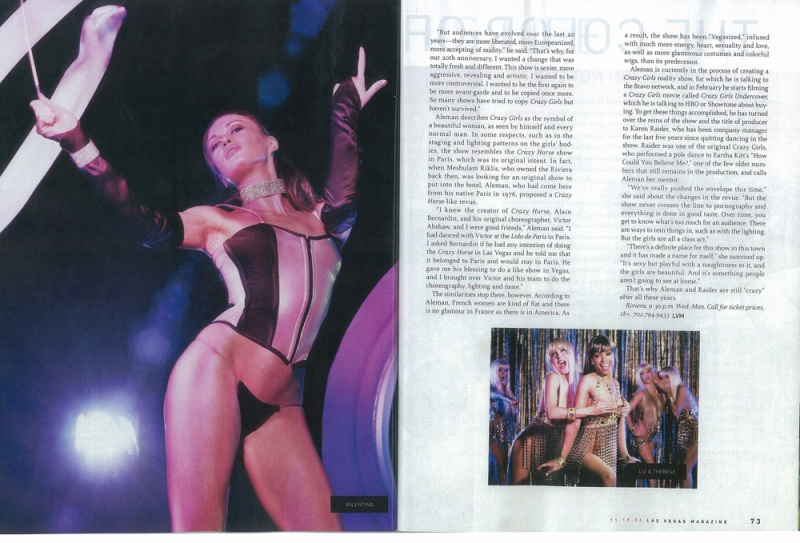 Riviera, Las Vegas Dec 02, 2006 Show time, LV Magazine
