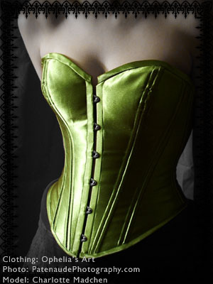 Feb 01, 2007 green satin corset, steel boned