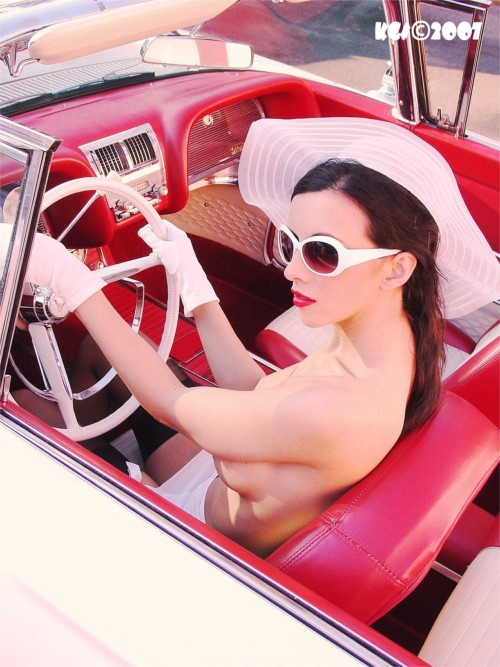 .........In a private vintage car collection in Florida Mar 13, 2007 Tom Eitnier/KoolGirlieStuff Copyright 2007 all rights reserved T-Bird Teese (Sitting Pretty) Model: Kerri Taylor ~ Kerri`s stopping traffic in her spring attire, enjoying her sunny day`s drive.......
