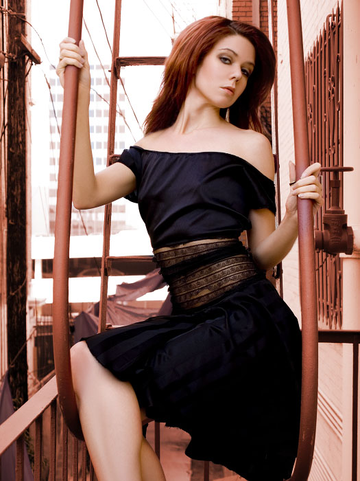 Los Angeles Mar 16, 2007 Brett Michael Nelson Fun on a fire escape!  dress by Gelle and make up and hair by myself.