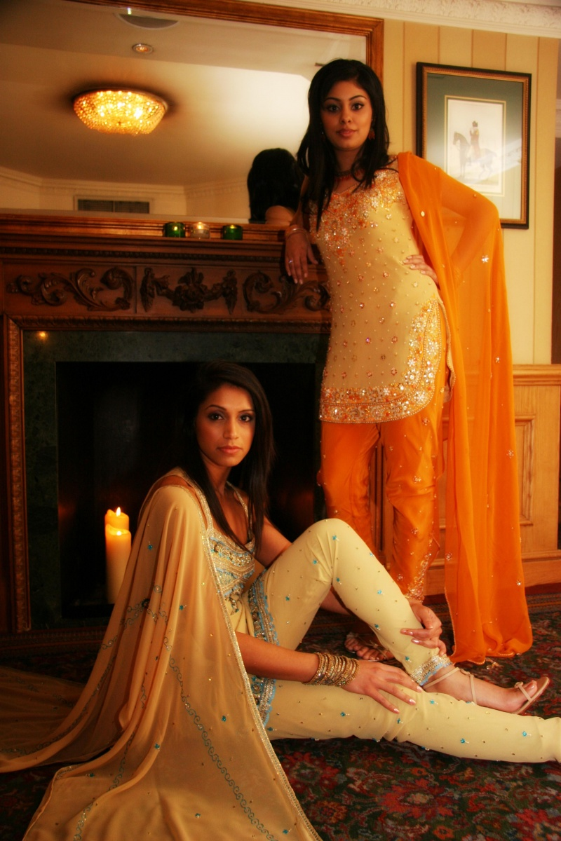 Female model photo shoot of Preeti C and Radhika J Lakhani in Flemings Hotel Mayfair, makeup by Angela Holthuis