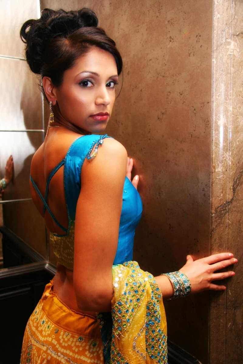 Female model photo shoot of Preeti C in Flemings Hotel Mayfair, makeup by Angela Holthuis