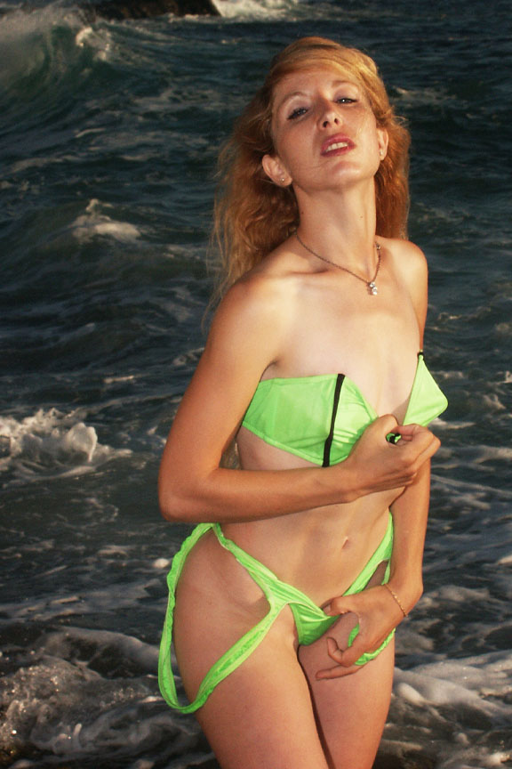 At a Select Models - Beach - Shoot in So. Calif May 06, 2007 James Baumgartner Marie in a two piece green thingy