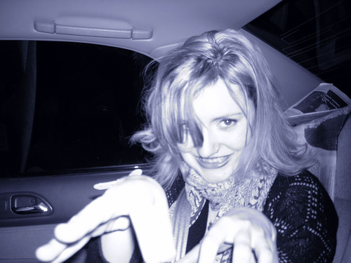Female model photo shoot of J-N-E in joe tang's car
