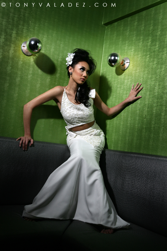 Female model photo shoot of Eileen Kim Couture and JenThi by TONY  VALADEZ, makeup by KarinSmith