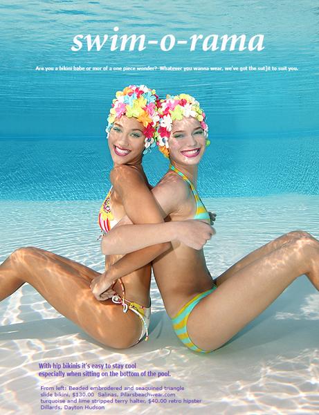 Los Angeles, CA.  Jul 14, 2007 Tracy Kahn Photography Teen Magazine Editorial Swim Twins
