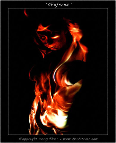 An exploration of video projection of real fire and the exotic female nude. (No digital effects were added) Jul 26, 2007 Copyright 2007 Dvs Inferna