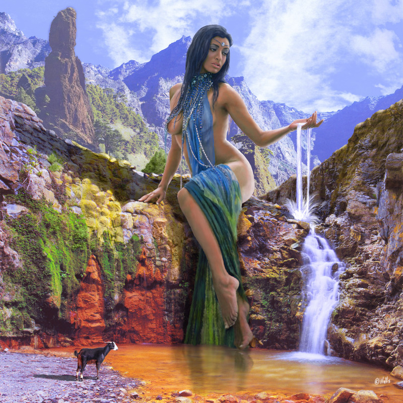 Caldera de Taburiente, La Palma, Islas Canarias. The location is the Color Cascade, an impressive gorge where mineral waters and moss create a full rainbow of colors. Jul 31, 2007 Digital Art: Art of Walls - Photo: Óscar Rivilla (model) and Tarek Ode (Backgrounds) - Model: Rosanna Walls - Styling: Carlos Nieves La Palma, Spirit of the Water
