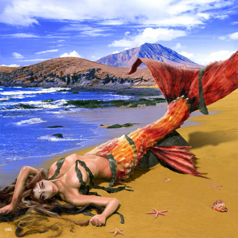 Fuerteventura, Canary Islands. The tail is a real prop by Carlos Nieves, not painted in. Sep 01, 2007 Photo: Óscar Rivilla (Model) - Full González (Background) - Model: Rosanna Walls - Styling: Carlos Nieves - Digital Art: Art of Walls Fuerteventura, Spirit of the Sea. It is a mermaid with the tail of a