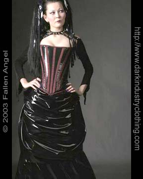 Seattle, WA Sep 04, 2007 Fallen Angel Studios PVC Corset and Bustle Skirt by Dark Industry Clothing