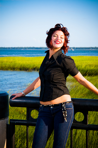 Female model photo shoot of redzy by Mike Ledford