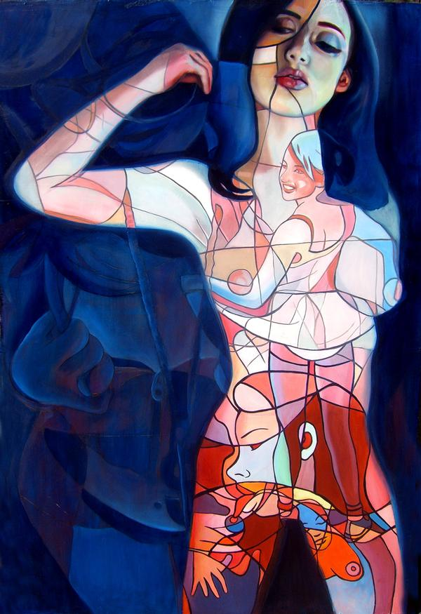 Sep 10, 2007 Jonathan Edward Luczycki  Abstrotica Blue Oil on wood. 2.5x4 feet.