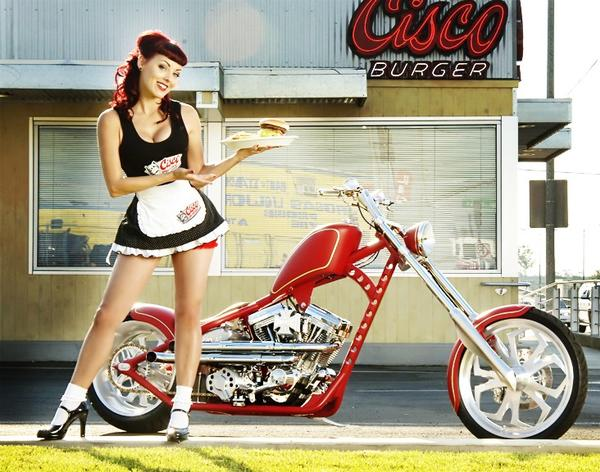 Female model photo shoot of Dayna DeLux in West Coast Choppers