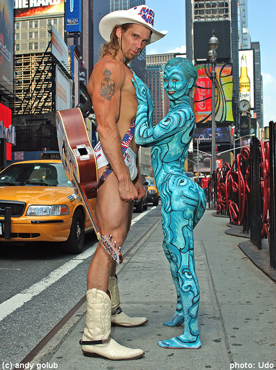 Female model photo shoot of Rabbit86 by udor in NYC Times squere, body painted by Andy Golub
