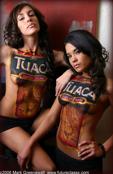 Tuaca Bar Crawl promotion for the Body Art Ball Oct 31, 2007 c2006 Mark Greenawalt bodypainting and photography Double shot of Tuaca