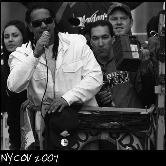 Downtown Boston Nov 01, 2007 ©NYCOV 2007 Manny Ramirez on the mic