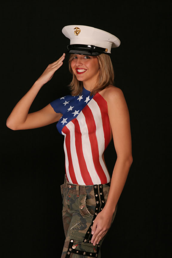 My Largo, Florida Studio    727 560 9959 Dec 17, 2007 www.waynecollinsphotography.com Body Paint abd  Marine  Dress Blues hat