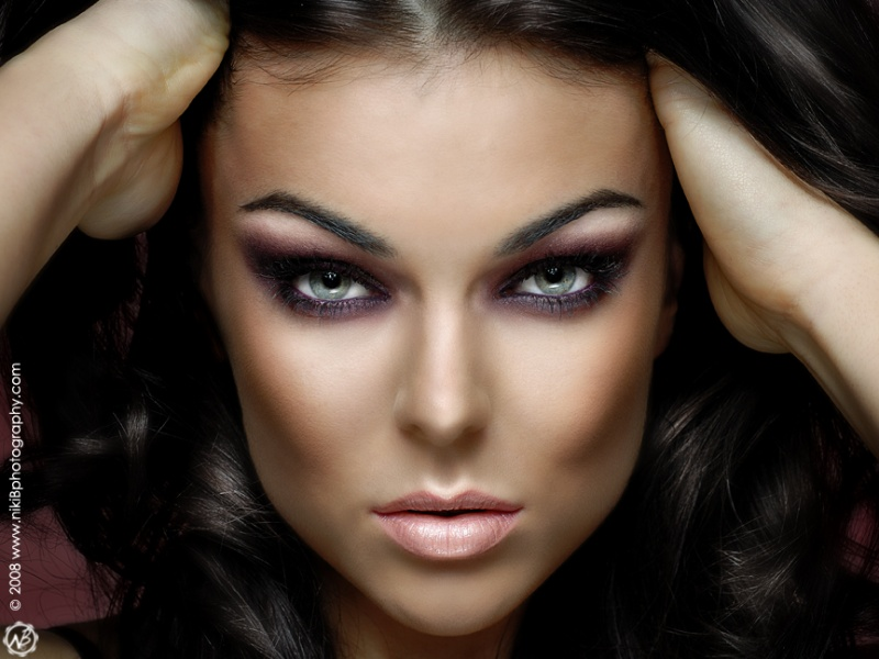 Female model photo shoot of Niki B and Serinda Swan in Vancouver, BC, makeup by YOUR FACE MY ART