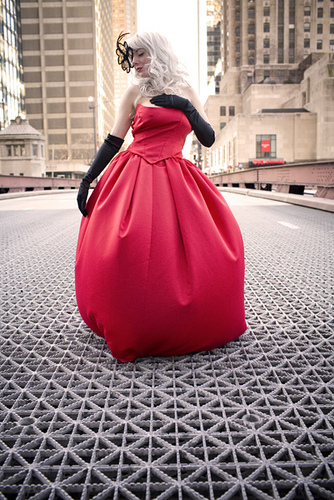 Downtowm Chicago  Jan 25, 2008 Patrick Sablan Model: Lindsey wearing custom-made red dress in below 0 degree weather!