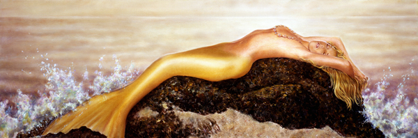 Painted in Orlando, Florida based upon Photo taken in Oahu, Hawaii Jan 26, 2008 2008 Paul Vincenti Reclining Mermaid