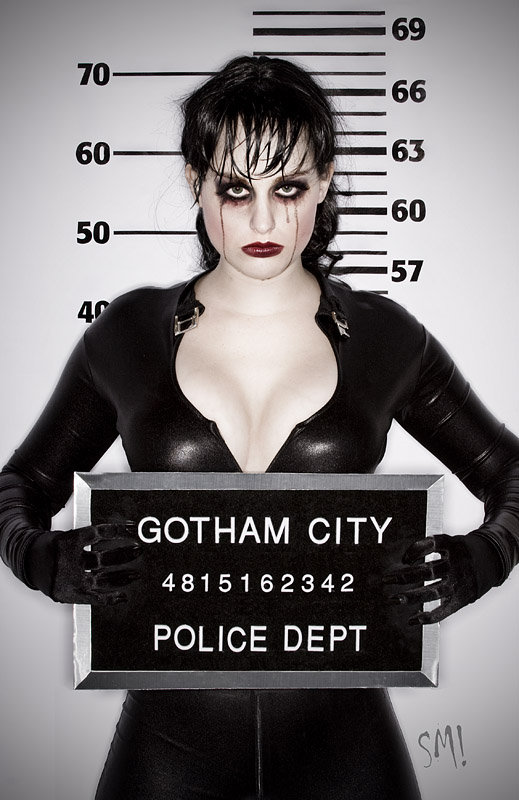 Male and Female model photo shoot of Scott Miron and MeaganMarie in Gotham City, makeup by Sarah Lynn Morrison
