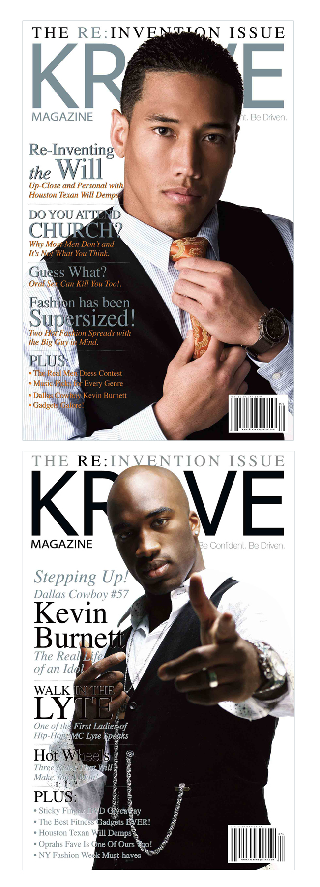 Dallas & Houston, Texas Feb 21, 2008 Krave Magazine  Issue #12 Dbl. Cover w/Will Demps & Kevin Burnett