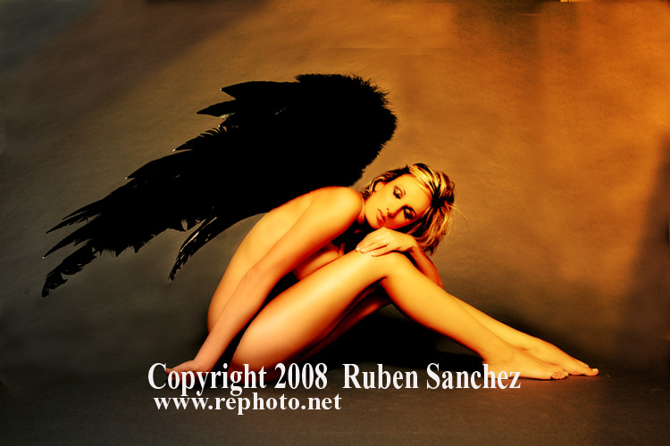 my studio, San Antonio Feb 25, 2008 Ruben Sanchez Angel With Black Wings