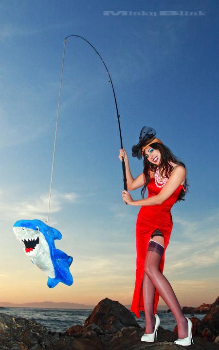 Los Angeles Mar 12, 2008 MinkyBlink - 2008 Reanna & Shelby the shark - Gone fishin