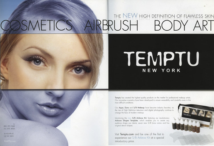 nyc Mar 15, 2008 temptu temptu ad campaign as seen in makeup artist magazine