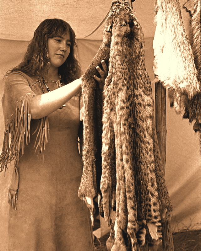 Fort Union ND Mar 27, 2008 Photographer: Roger R. Checking the furs.