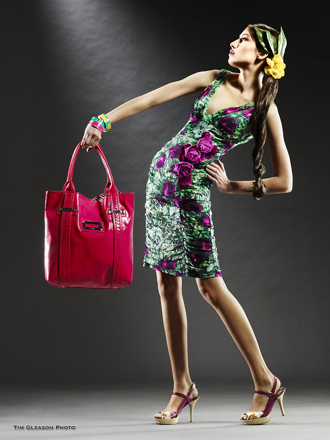 Carlsbad Studio Apr 02, 2008 Tim Gleason Photo Nanette Lepore dress; Guess handbag; Alfani bracelets; Marc Fisher shoes.